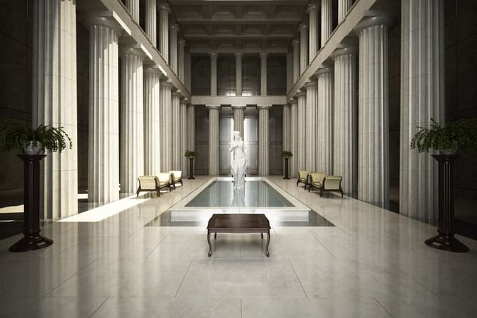fancy hall with statues and fountian scene 3d model max 1