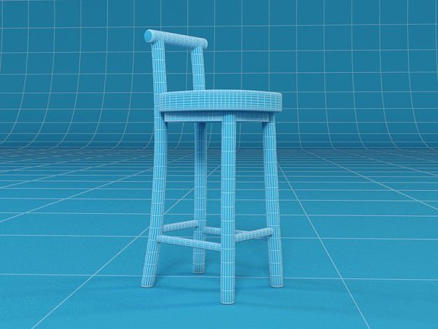 Barstool 3d model max obj fbx mtl for Barhocker 3d model