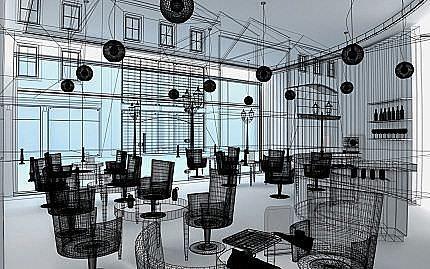 modern restaurant with orange lamps 3d model max 1