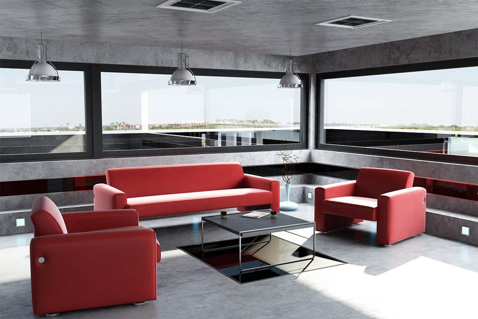 Modern living room with red furniture 3d model for Modern living room red