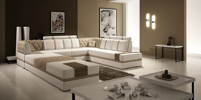 modern living room with big fancy sofa 3d model max 1