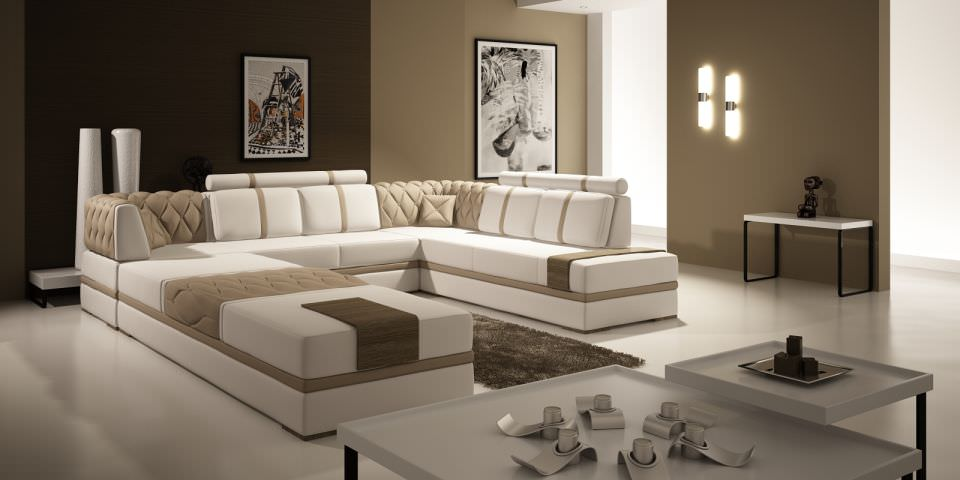 Modern Living Room With Big Fancy Sofa 3D Model