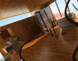 Modern Bath Room With Parquet 3D model