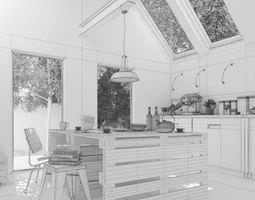 Scandinavian Office Room 3D model