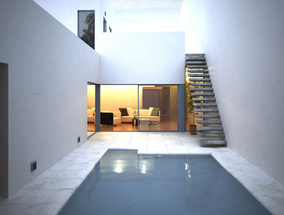 Swimming Pool In A House With Living Room 3d Model