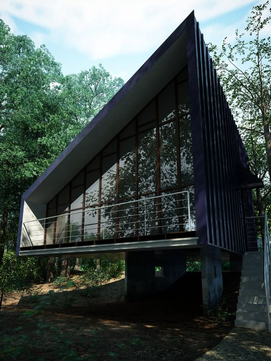Modern house in a forest 3d model cgtrader com