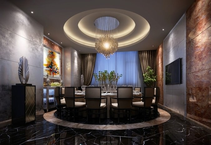 3D model Luxury Dining Room With Round Table | CGTrader