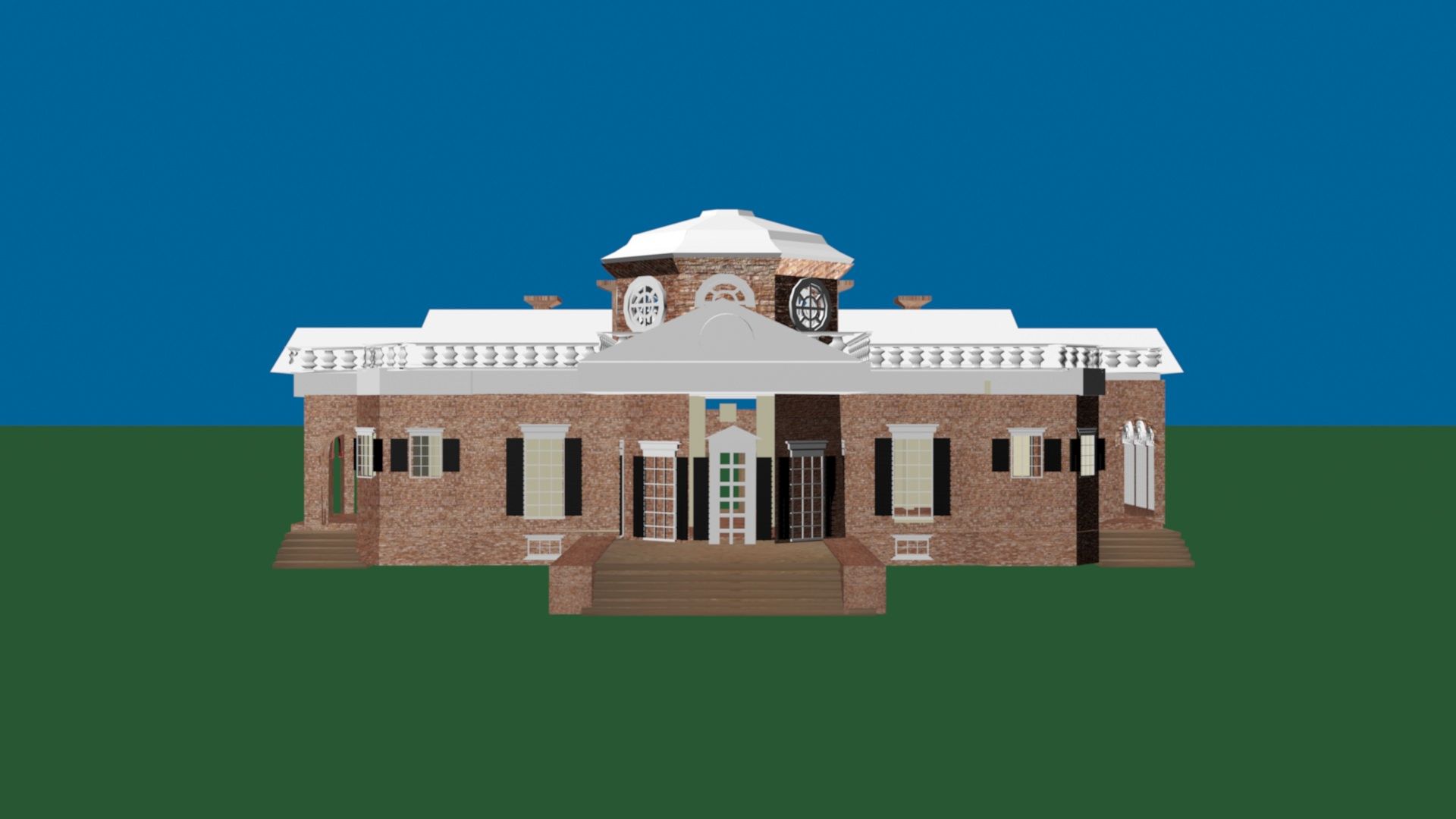 Neoclassical Architecture Thomas Jefferson house 3D Model Game ready ...