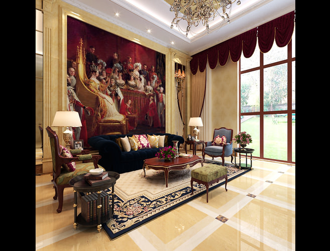 3D Model Classic Living Room With Big Painting