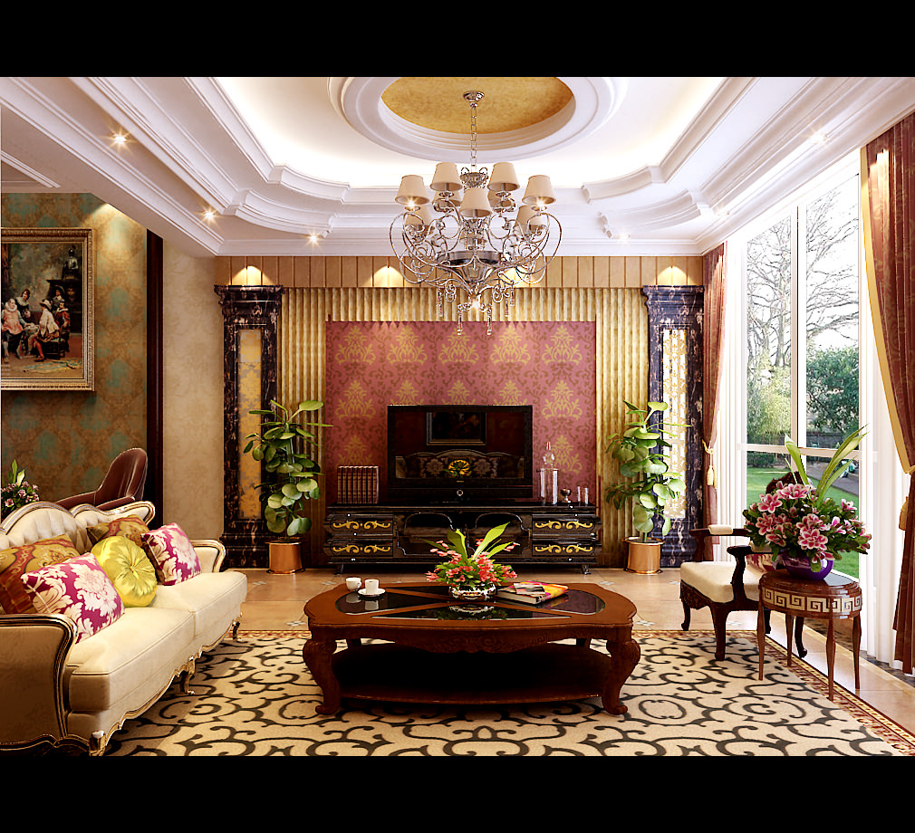 Royal Living Room With Pillows 3D Model .max - CGTrader.com