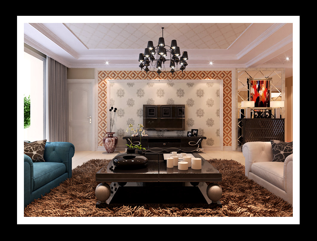 Modern Living Room With Brown Fur Carpet 3D Model .max - CGTrader.
