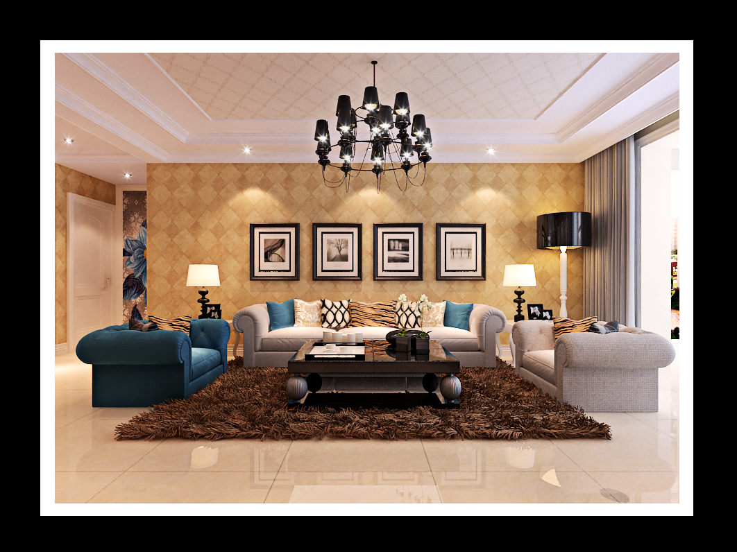 Modern Living Room With Brown Fur Carpet 3D Model .max - CGTrader. title=