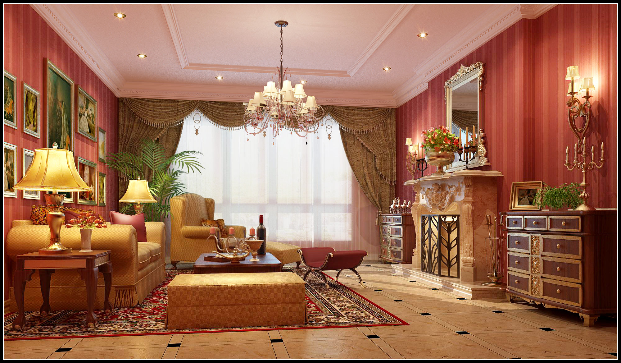 Cozy Living Room With Red Wallpapers 3d Model Max