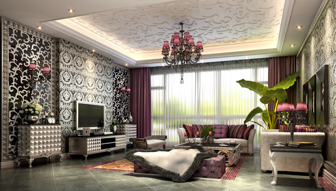 3d living room wallpaper fancy living room with luxurious wallpapers 3d model max 13280