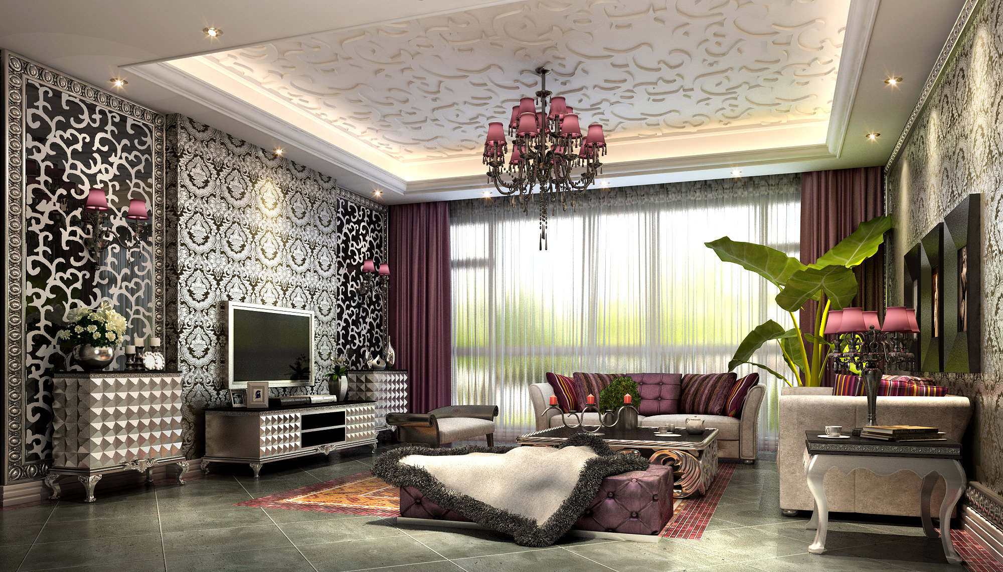 fancy living room with luxurious wallpapers 3d model max