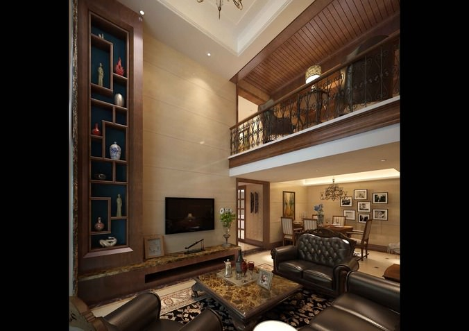 Luxurious living room with black leather furniture 3d for New model living room furniture
