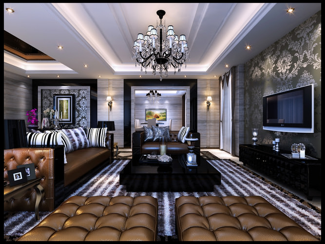 astounding 3d luxury living rooms | Luxurious Living Room With Posh Furniture 3D model MAX