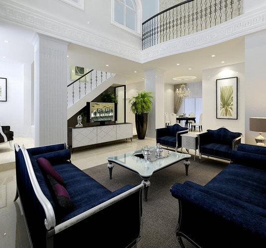 modern living room with dark blue sofas 3d model max