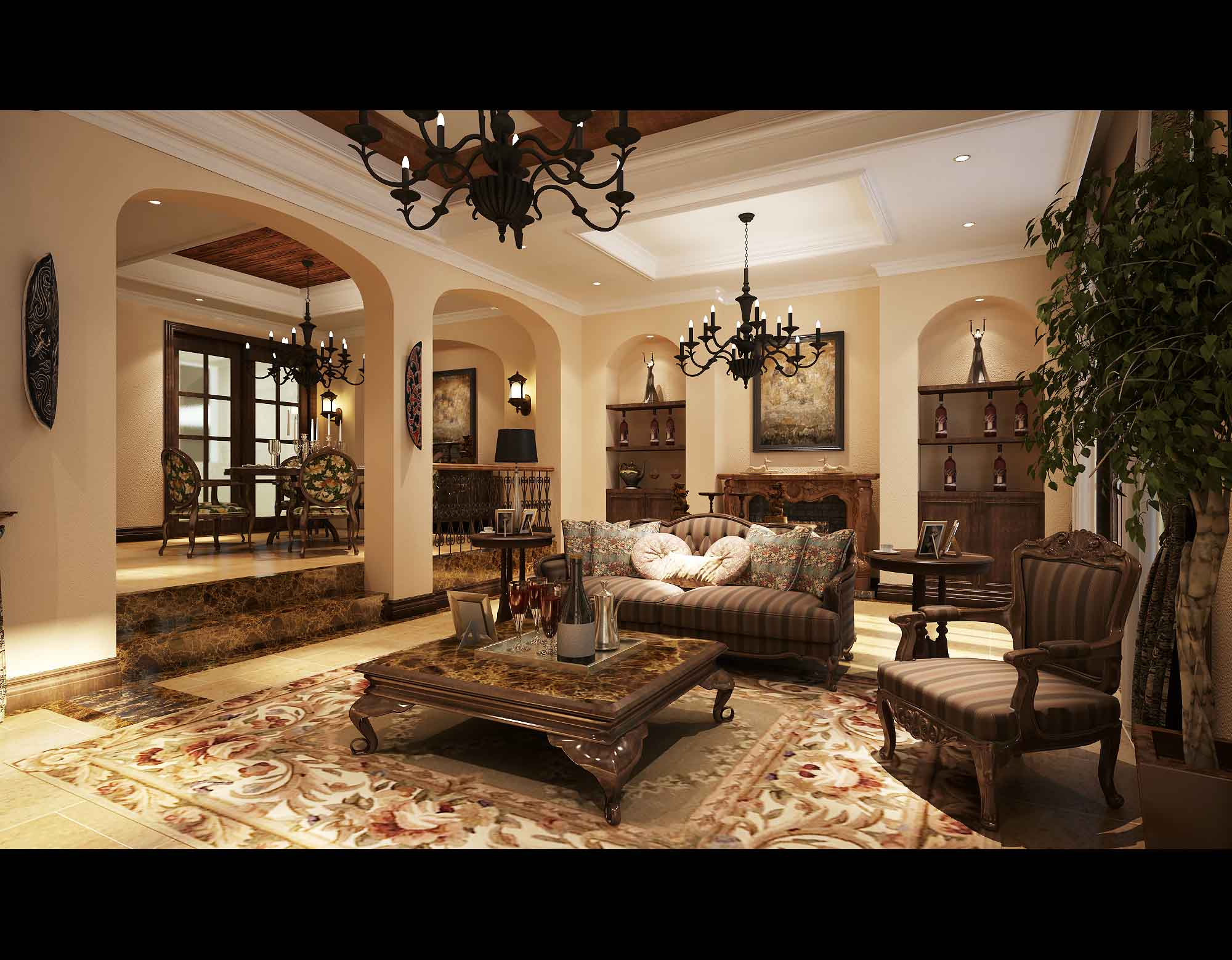 Luxurious living room with flowers furniture 3d model max for Luxury living rooms furniture