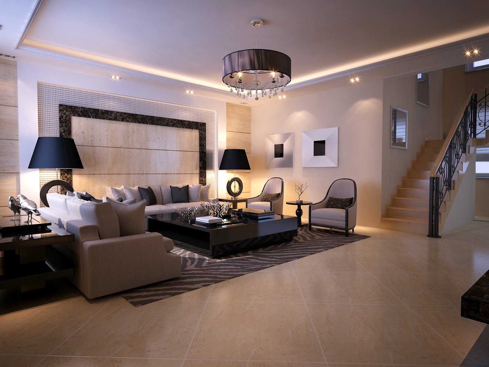Modern Living Room With Fancy Lithing 3d Model Max 1