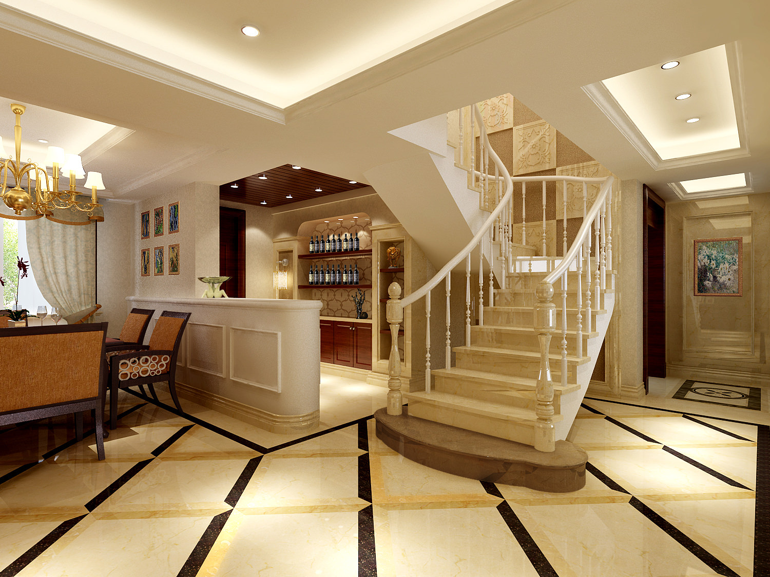 Modern Living Room With Stairs 3d Model Max 1 ... Part 60
