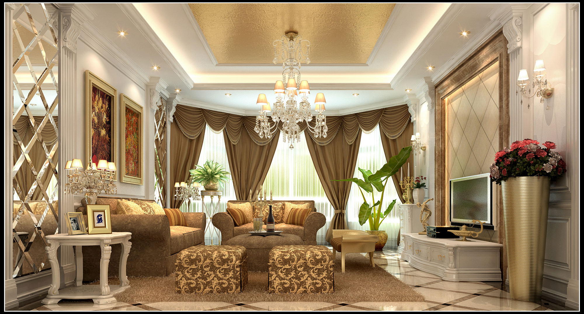 Luxurious Living Room With Curtains 3d Model Max 1