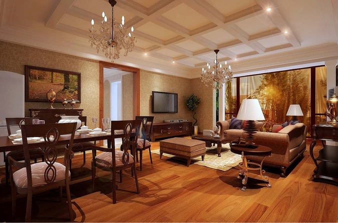 Modern Living Room With Dining Table3D model
