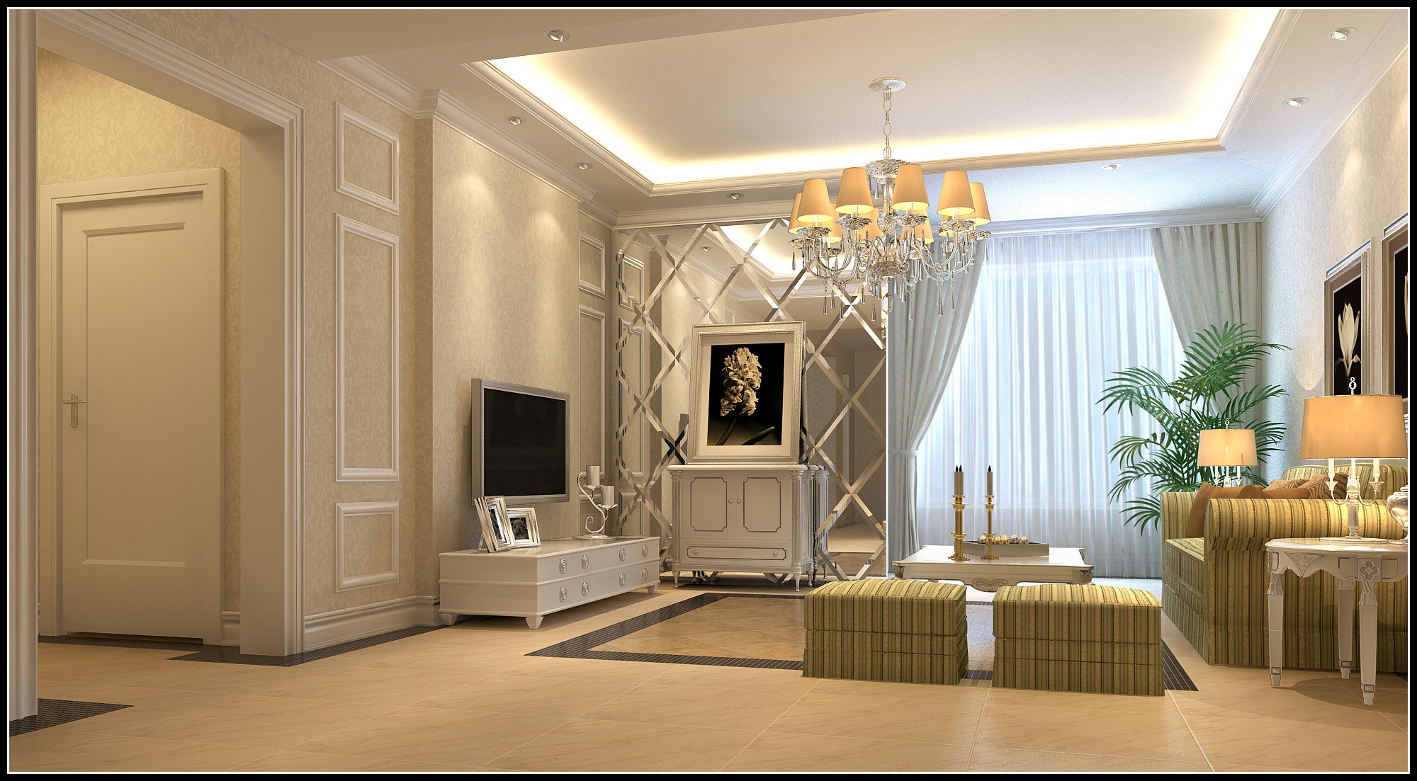 Modern light living room 3d model max for Living room 3d model