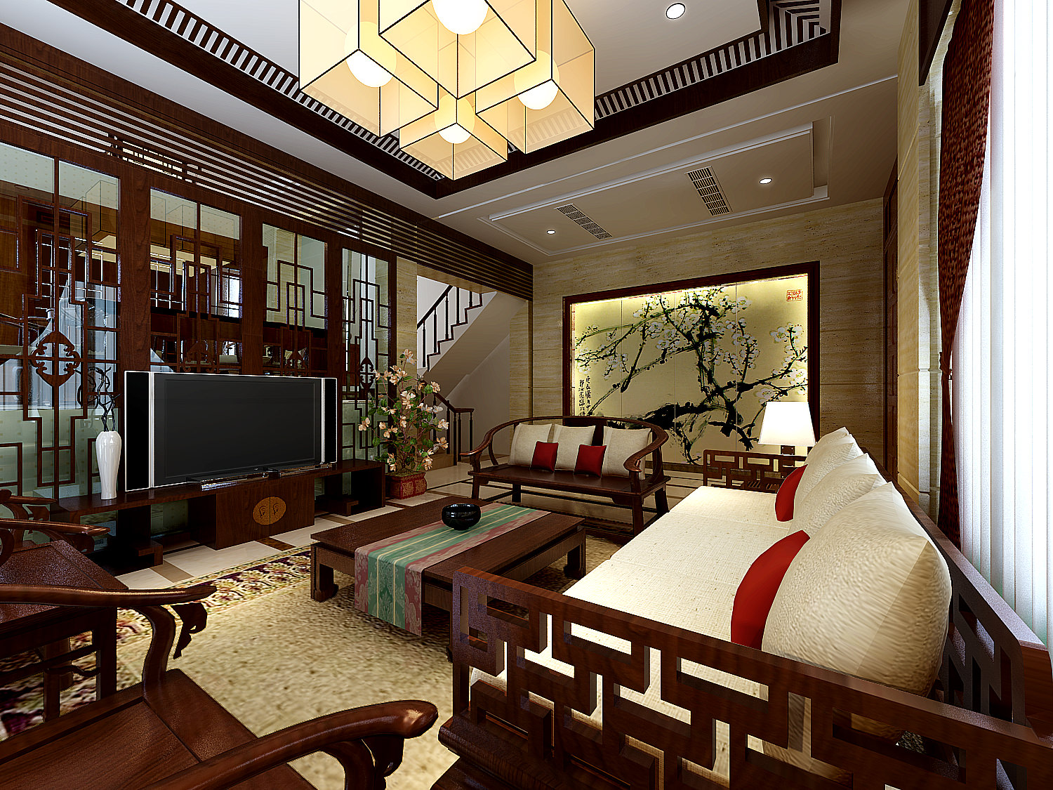 Modern living room with dining room upstairs 3d model max for Living room upstairs