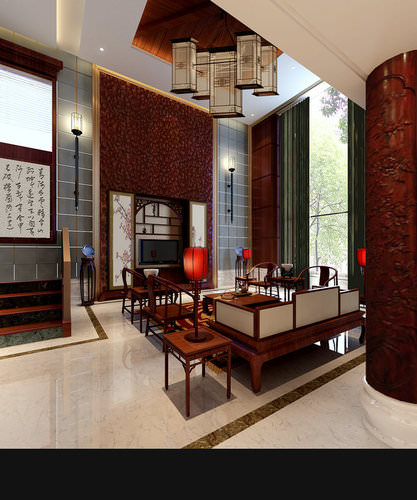 Brown Living Room3D model