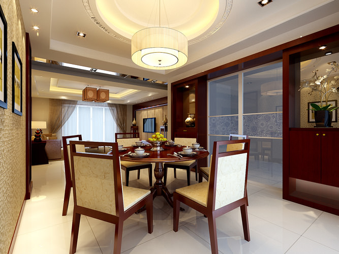 Modern living room connected with dining room 3d model max for Dining room 3d max model