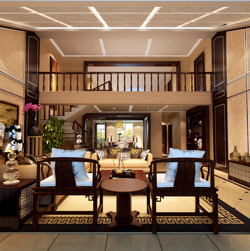 Luxurious Living Room With Stairs 3D Model MAX