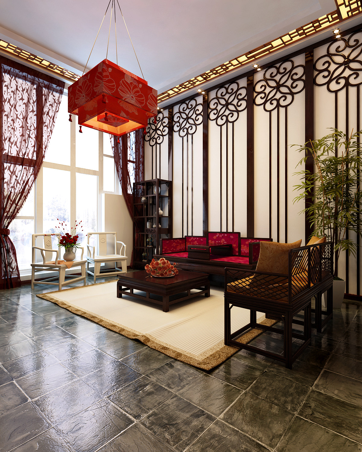 Asian Inspired Living Room: Chinese Style Living Room 3D Model .max