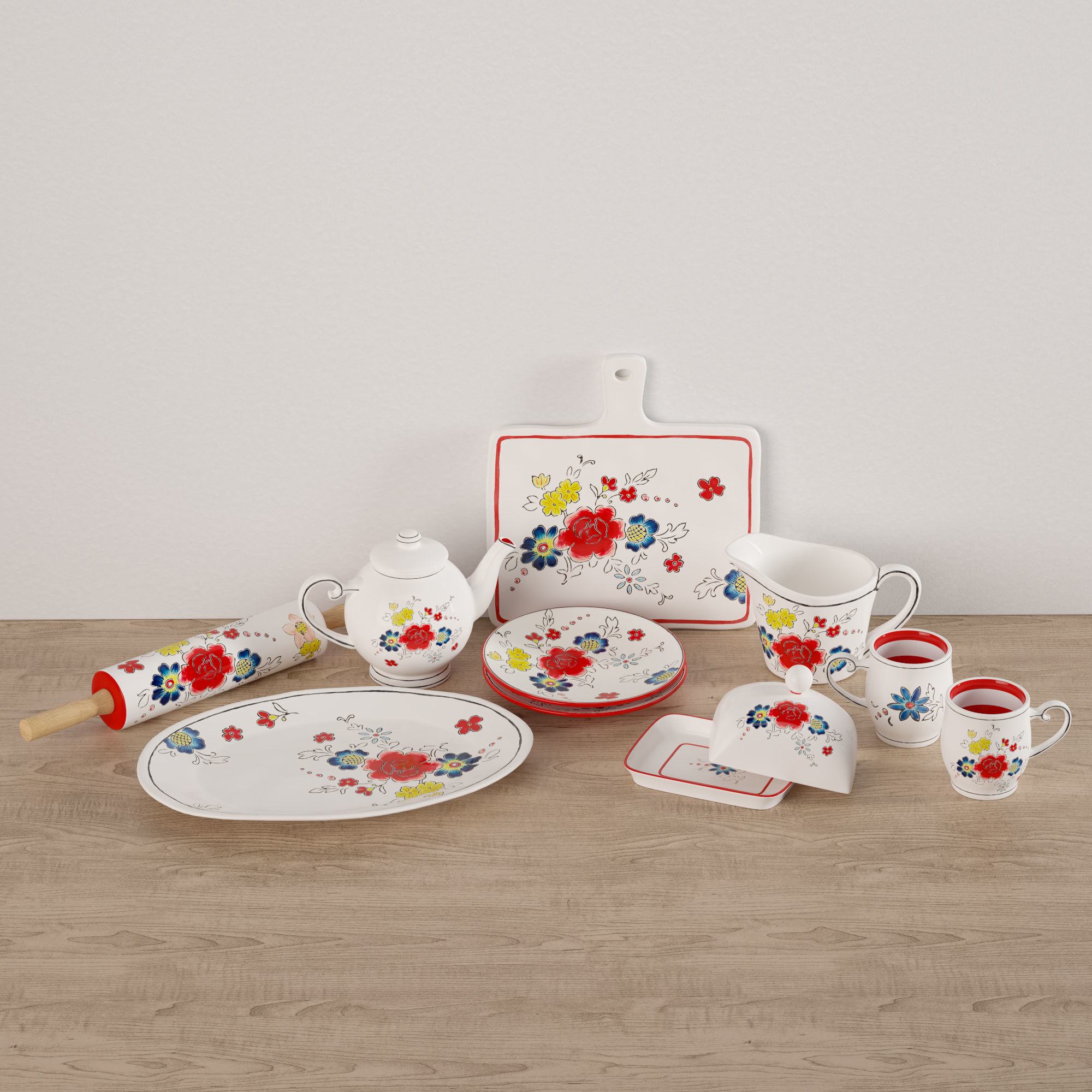 Flower Dishes Set