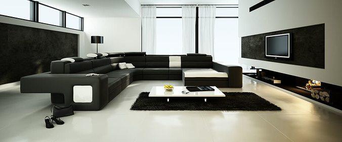 Spacious Living Room With Big Black Sofa 48D Model MAX Unique Big Living Rooms