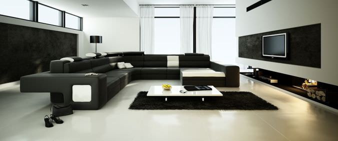 Spacious Living Room With Big Black Sofa3D model