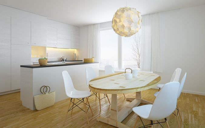 White Kitchen With Dining Room3D model