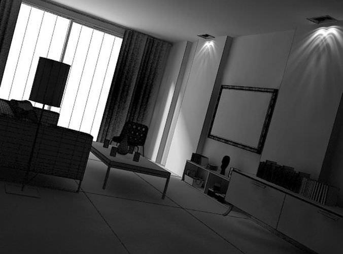 Green Living Room3D model