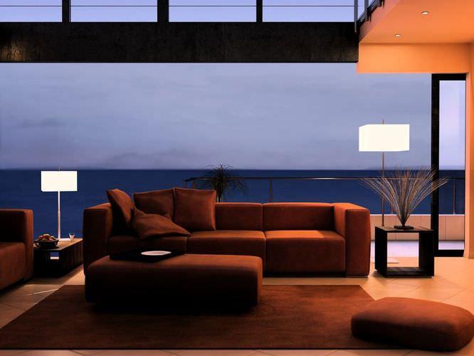 Modern Brown Living Room3D model