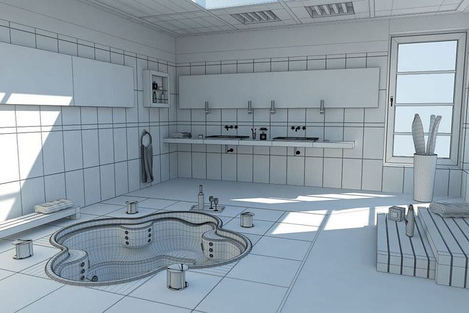Modern bath room with jacuzzi d model cgtrader