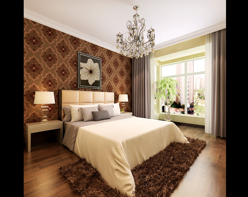 Modern Bedroom With Brown Fur Carpet 3D Model .max - CGTrader.