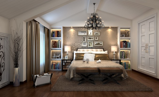Luxurious Bedroom With Chandelier3D model