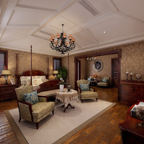 double bed room with living room 3d model max 1