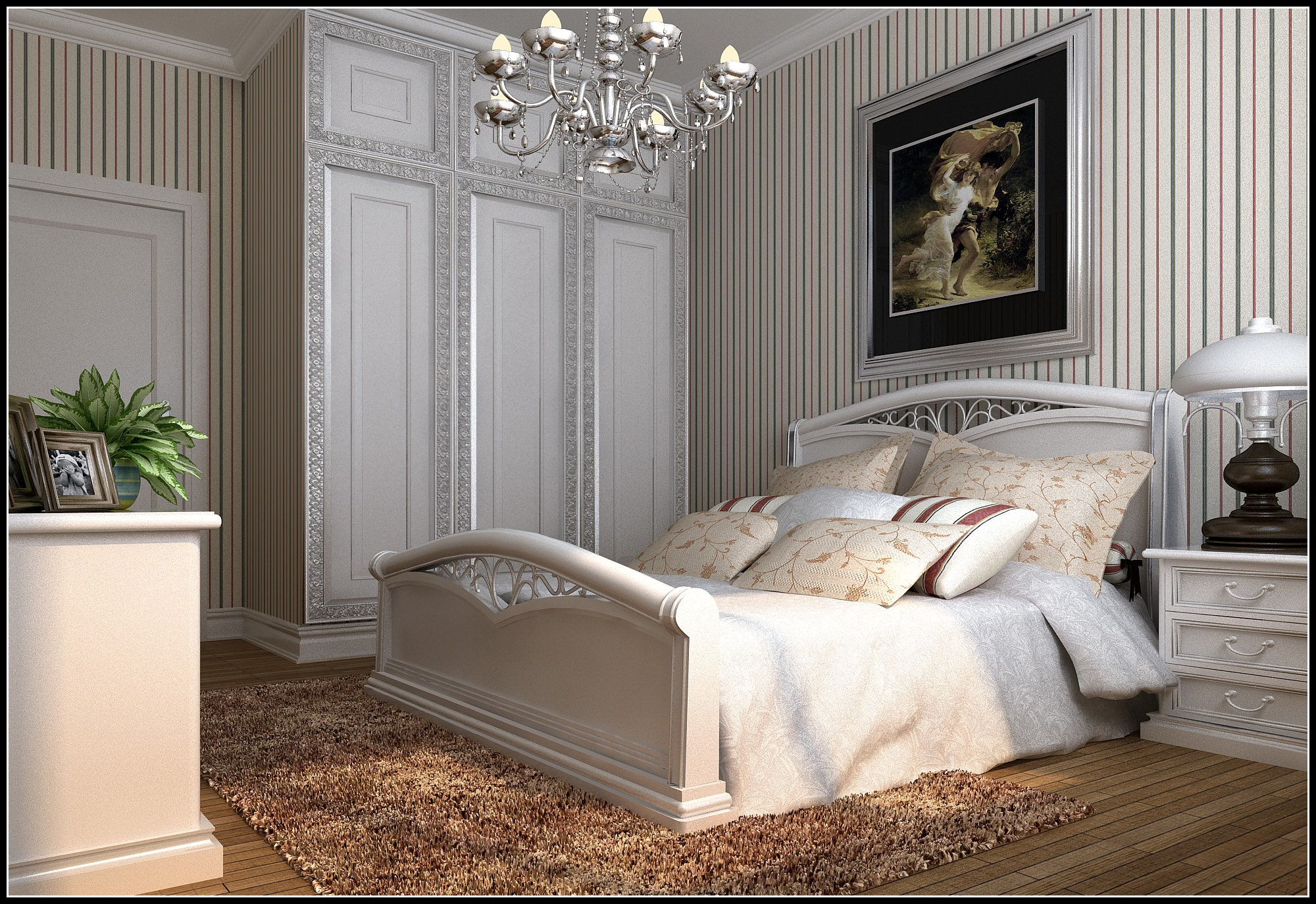 Modern Bed Room With Big White Bed 3D model   CGTrader