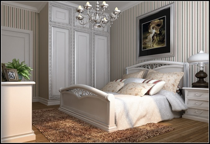 Modern Bed Room With Big White Bed3D model