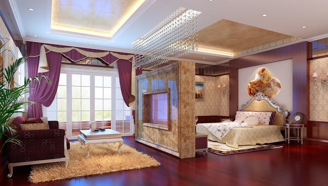 luxurious bed room with lounge 3d model max 1
