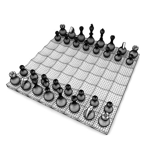 Wobble chess set 3d model obj fbx blend - Wobble chess set ...