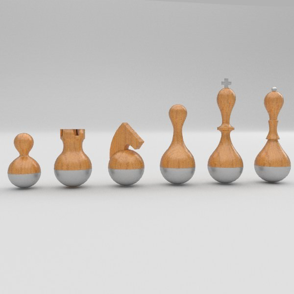 Wobble chess set 3d model obj fbx blend - Umbra chess set ...