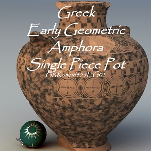 Greek Early Geometric Amphora Single Piece Pot GEKamp6655EG01 3D Model .obj .lwo .lw .lws