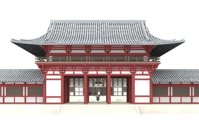 Todai-ji Temple Nara 3D Model .3ds .c4d .dae .skp ...